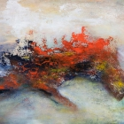 o.T., Öl, Pigment auf Leinwand, 100 x 145 cm, 2019