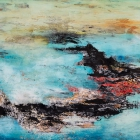 o.T., Öl, Pigment auf Leinwand, 90 x 145 cm, 2018