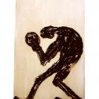 Boxer, Monotypie (Asphaltlack) auf Papier, 70 x 50 cm, 2010