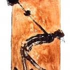 Hammerwerfer, Monotypie (Asphaltlack) auf Papier, 70 x 50 cm, 2010
