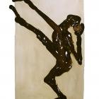 Kugelstosser, Monotypie (Asphaltlack) auf Papier, 70 x 50 cm, 2010