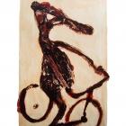 Radfahrer, Monotypie (Asphaltlack), 50 x 70 cm, 2009