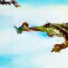 """o.T.; (Diptychon, aus der Serie """"Mündungsgebiete""""), Öl, Pigment auf Leinwand; 70x 190 cm; 2014"""