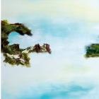 """o.T.; (Triptychon, aus der Serie """"Mündungsgebiete""""), Öl, Pigment auf Leinwand; 70x 190 cm; 2014"""