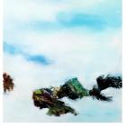 """o.T., (Panorama, aus der Serie """"Mündungsgebiete""""); Öl, Pigment auf Leinwand; 100 x200 cm; 2014"""