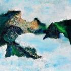 """o.T. (Triptychon, aus der Serie """"Mündungsgebiete""""), Öl, Pigment auf Leinwand, 110 x 210 cm, 2014"""