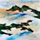 """o.T.; (Aus der Serie """"Mündungsgebiete""""), Öl, Pigment auf Leinwand; 125x125 cm; 2012"""