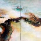 o.T. (Diptychon), Öl, Pigment auf Leinwand, 100 x 140 cm, 2019