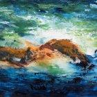 o.T., Öl, Pigment auf Leinwand, 90 x 140 cm, 2018