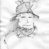 Frau mit Hut (8), Bleistift auf Aquarellpapier, 40 x 30 cm, 2011