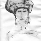 Frau mit Hut (7), Bleistift auf Aquarellpapier, 40 x 30 cm, 2011
