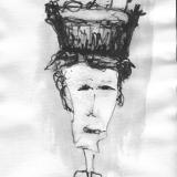 Frau mit Hut (6), Bleistift auf Aquarellpapier, 40 x 30 cm, 2011