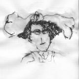 Frau mit Hut (5), Bleistift auf Aquarellpapier, 40 x 30 cm, 2011