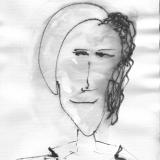 Frau mit Hut (4), Bleistift auf Aquarellpapier, 40 x 30 cm, 2011