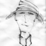 Frau mit Hut (3), Bleistift auf Aquarellpapier, 40 x 30 cm, 2011