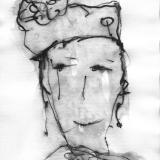 Frau mit Hut (2), Bleistift auf Aquarellpapier, 40 x 30 cm, 2011