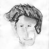 Frau mit Hut (1), Bleistift auf Aquarellpapier, 40 x 30 cm, 2011