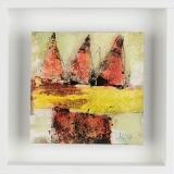 Häuser; Öl, Pigment, Tusche auf Leinwand, Holzrahmen , 20x20x3 cm; 2010