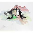 """N.N. (""""Häuserporträts""""); Chinatusche, Acryl, Kreide auf Papier, 40 x 50 cm, 2014"""