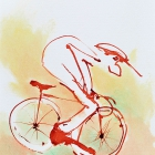 Rennradfahrer, Chinatusche auf Aquarellpapier, 40x 30 cm, 2014