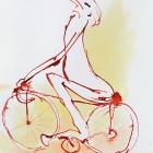 Rennradfahrer, Chinatusche auf Aquarellpapier, 40x 30 cm, 20143